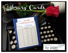 Load image into Gallery viewer, What a novel idea! Book themed greeting card with a vintage library pocket and envelope.