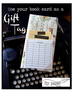 What a novel idea! Book themed greeting card with a vintage library pocket and envelope.