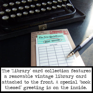 This Note is Overdue. Book Themed Thank You Card with a Vintage Book Card and Library Pouch.