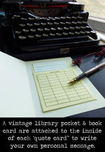 Load image into Gallery viewer, Thank you- Vintage Typewriter-Greeting card with vintage book card and library pocket.