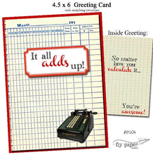 Load image into Gallery viewer, It all adds up!  Math Geek themed Thank You card.
