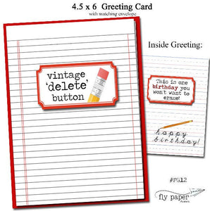 Vintage Delete Button. Grammar themed Birthday card.