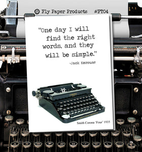 One day I will find the right words and they will be simple -Vintage Typewriter series-Blank Card- Wisdom -Jack Kerouac -Card for Friendship