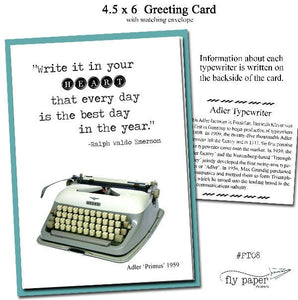 Write it in your HEART that every day is the best day in the year-Vintage Typewriter- Blank Card -Ralph Waldo Emerson - Quote -Inspirational
