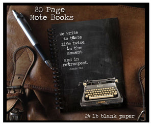 We write to taste life twice 80 page Note Book - Best Book Lover Gifts - Literary Journal - Best Writer Gift - Quote by Anais Nin -