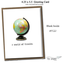 Load image into Gallery viewer, A world of thanks. Classic Linen Series Greeting Card- Blank Inside