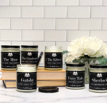 Load image into Gallery viewer, Sherlock - Citrus + Aged Tobacco Leaf + Leather - 9oz Glass Soy Candle