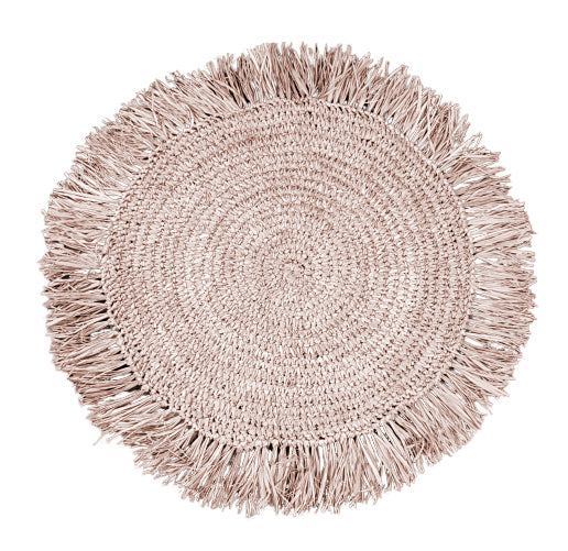 NEREY Raffia Round Placemat / Coaster Fringes Natural