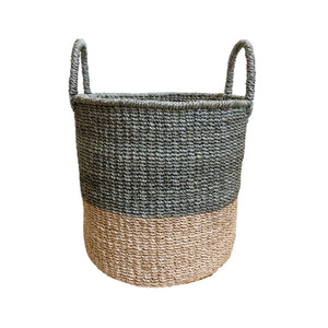 Abaca Round Basket COLOR BLOCK Grey-Natural