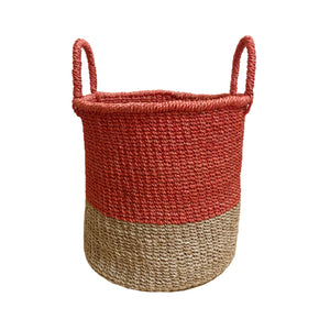 Abaca Round Basket COLOR BLOCK Red-Natural
