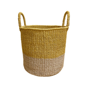 Abaca Round Basket COLOR BLOCK Yellow-Natural