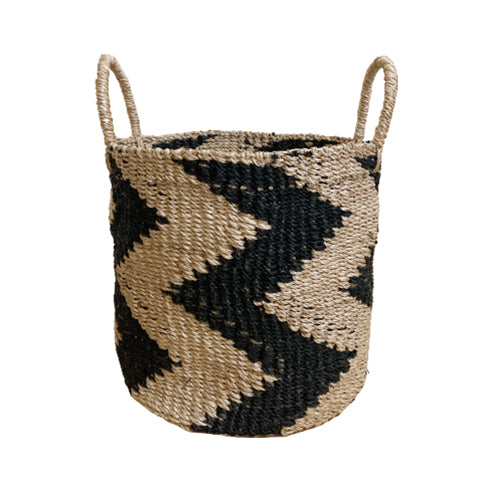 Abaca Round Basket CHEVRON Black-Natural