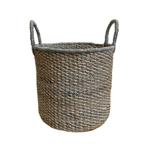 Abaca Round Basket COLOR MIX Grey-Natural