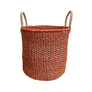 Abaca Round Basket COLOR MIX Red-Natural