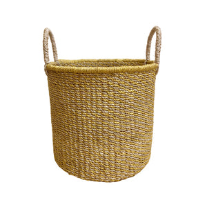 Abaca Round Basket COLOR MIX Yellow-Natural
