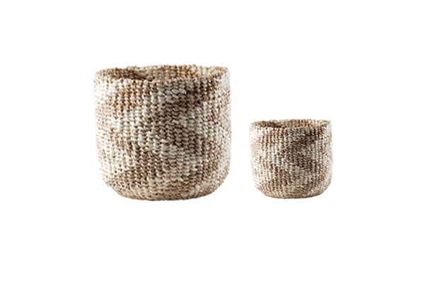Abaca Round Basket CHEVRON Natural-Bleached