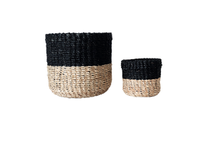 Abaca Round Basket COLOR BLOCK Black-Natural