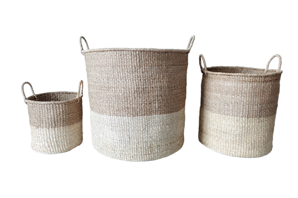 Abaca Round Basket COLOR BLOCK Natural-Bleached