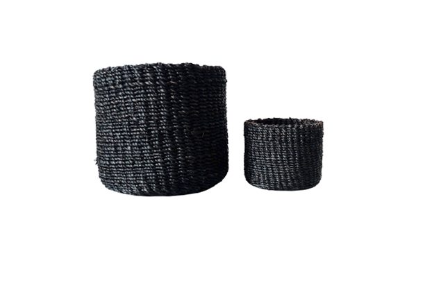 Abaca Round Basket PLAIN Black
