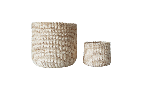 Abaca Round Basket PLAIN Bleached