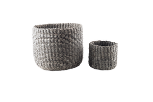 Abaca Round Basket PLAIN Gray