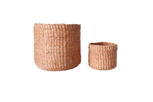 Abaca Round Basket PLAIN Peach