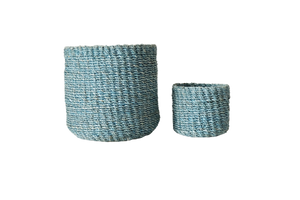 Abaca Round Basket PLAIN Powder Blue