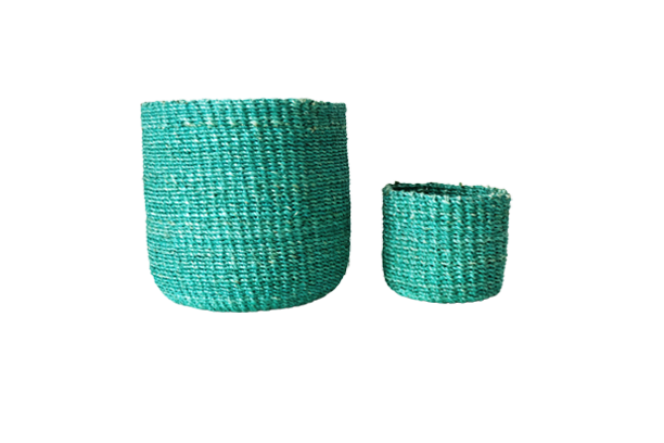 Abaca Round Basket PLAIN Teal