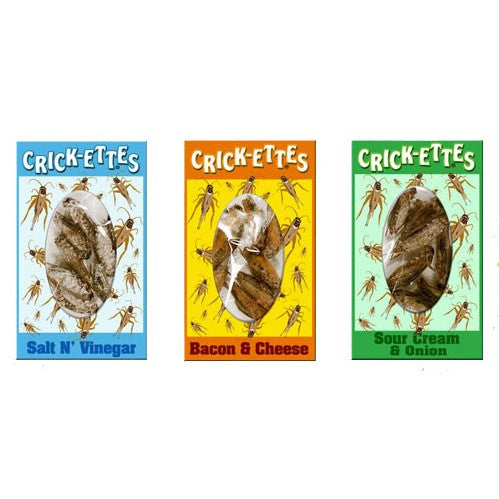 Cricket Candy assorted flavors Bacon & Cheese, Salt N' Vinegar, Sour Cream & Onion and Nacho Cheese