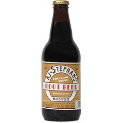 AJ STEPHANS GLASS BOTTLE ROOT BEER