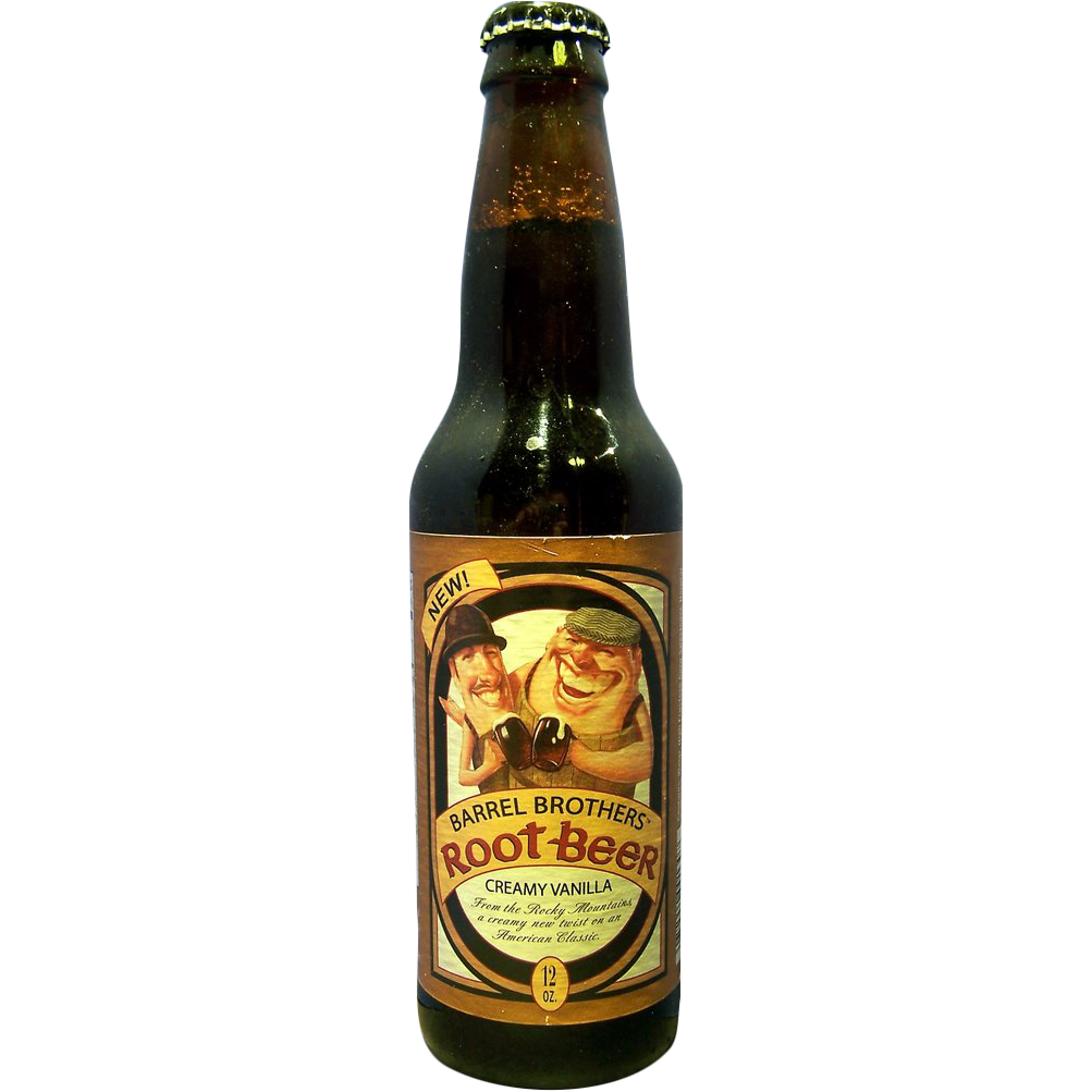 Barrel Brothers Root Beer Glass Bottle