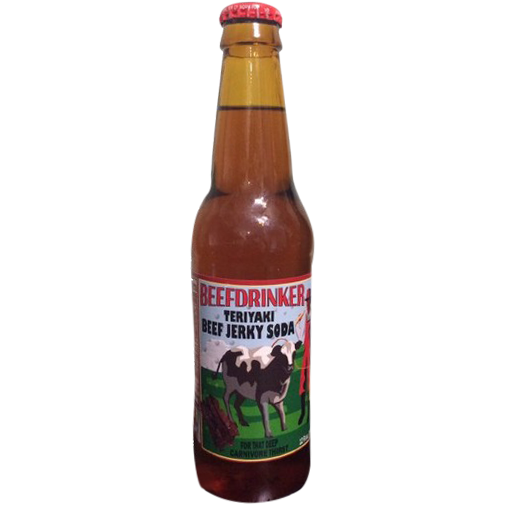 Beefdrinker  Teriyaki Beef Jerky flavored glass bottle soda