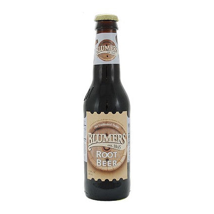 Blumers Root Beer glass bottle soda
