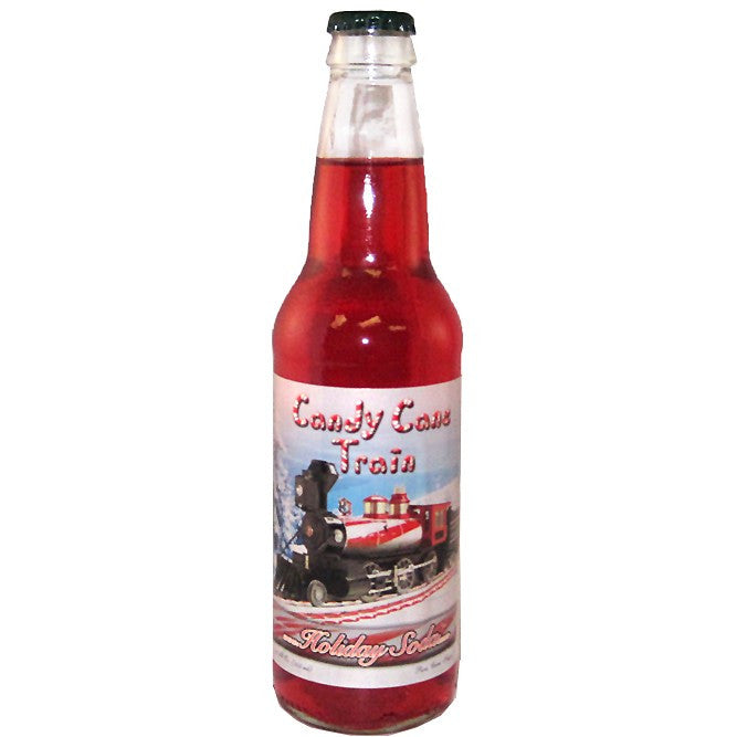 Candy cane train flavored glass bottle soda