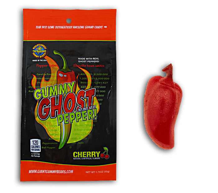 Cherry Flavored Gummy Ghost Pepper candy insane heat