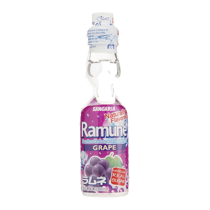 Ramune' Grape flavored real cane sugar glass bottle soda