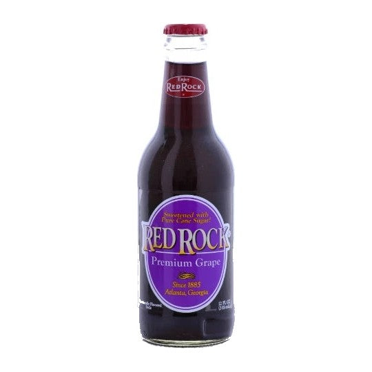 Red Rock Grape flavored glass bottle soda