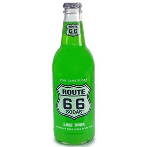 Route 66 Lime glass soda bottle