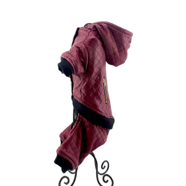 The Grooming Pet's Leather Jacket(Color Bordeaux Red, Detail Display 6)- Winter Grooming Pet Leather Hoodie Jacket Jumpsuit   Attapet.com