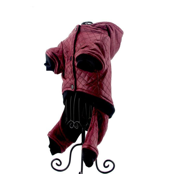 The Grooming Pet's Leather Jacket(Color Bordeaux Red, Detail Display 7)- Winter Grooming Pet Leather Hoodie Jacket Jumpsuit   Attapet.com