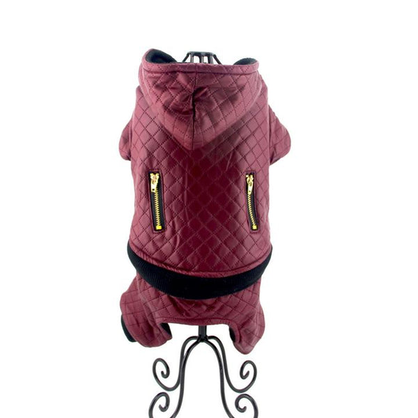 The Grooming Pet's Leather Jacket(Color Bordeaux Red, Detail Display 8)- Winter Grooming Pet Leather Hoodie Jacket Jumpsuit   Attapet.com