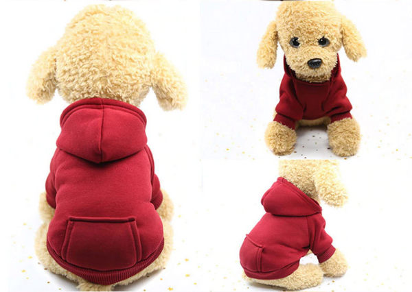 Comfy daily dog's wearing(red) - Kangaroo Pocket Solid Color Pet Sweater Hoodie | Attapet.com