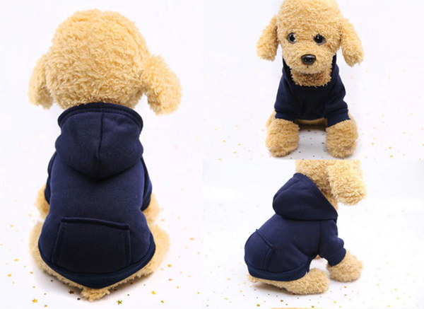 Comfy daily dog's wearing(blue) - Kangaroo Pocket Solid Color Pet Sweater Hoodie | Attapet.com