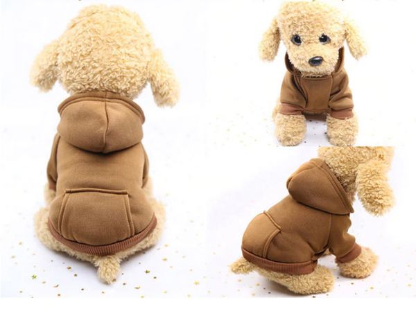 Comfy daily dog's wearing(brown) - Kangaroo Pocket Solid Color Pet Sweater Hoodie | Attapet.com