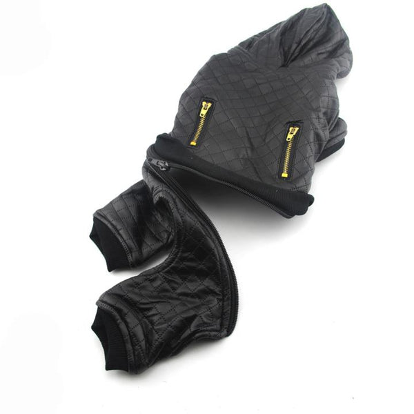 The Grooming Pet's Leather Jacket(Detail Display 1)- Winter Grooming Pet Leather Hoodie Jacket Jumpsuit   Attapet.com