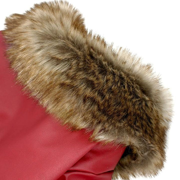 The most hansome leather jacket(Red) for dogs - Faux Fur Collar Detail - Waterproof Windproof Winter Leather Puppy Jacket Coat with Faux Fur Collar | Attapet.com