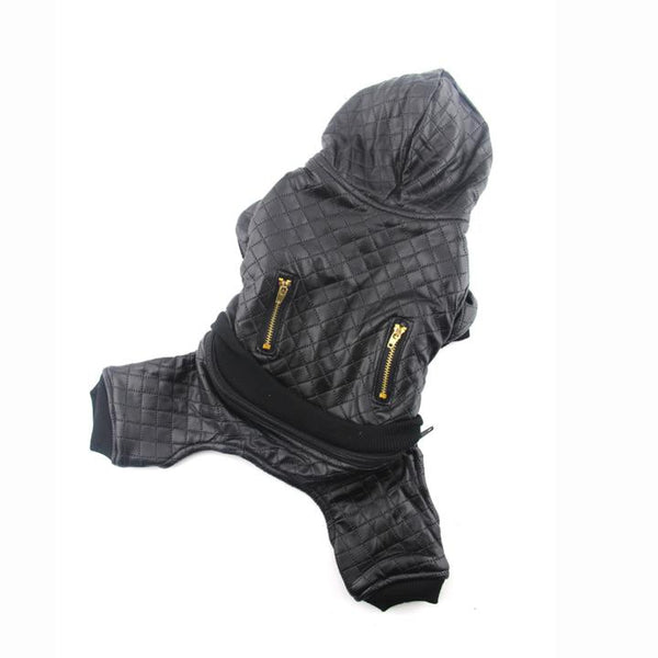 The Grooming Pet's Leather Jacket(Detail Display 2)- Winter Grooming Pet Leather Hoodie Jacket Jumpsuit   Attapet.com