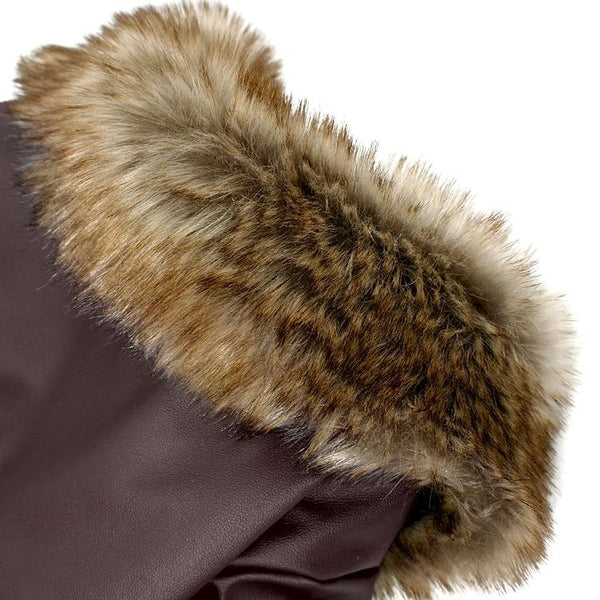 The most hansome leather jacket(Brown) for dogs - Faux Fur Collar Detail - Waterproof Windproof Winter Leather Puppy Jacket Coat with Faux Fur Collar | Attapet.com