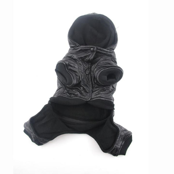 The Grooming Pet's Leather Jacket(Detail Display 3)- Winter Grooming Pet Leather Hoodie Jacket Jumpsuit   Attapet.com