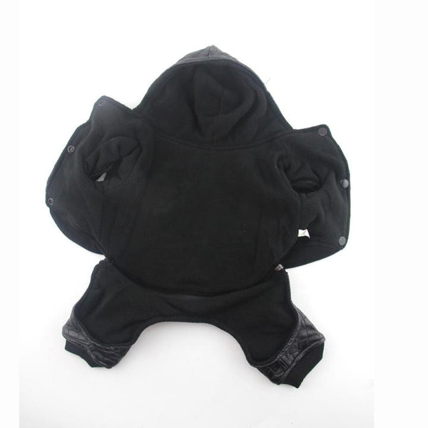 The Grooming Pet's Leather Jacket(Detail Display 4)- Winter Grooming Pet Leather Hoodie Jacket Jumpsuit   Attapet.com